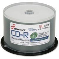 Skilcraft Cd Recordable Media - Cd-r - 52x - 700 Mb - 50 Pack Spindle - 120mm - Thermal Printable - 1.33 Hour Maximum Recording Time (nsn-6269521)