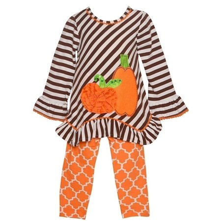 Rare Editions Baby Girls Brown Stripe Pumpkin Halloween 2 Pc Outfit - Baby Pumpkin Halloween Outfits