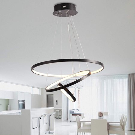 Modern LED Black Ring Chandeliers Acrylic Round Shape Pendant Light  Fixture, Adjustable Circle with 3 Rings for Living Room, Dining Room, Warm  White