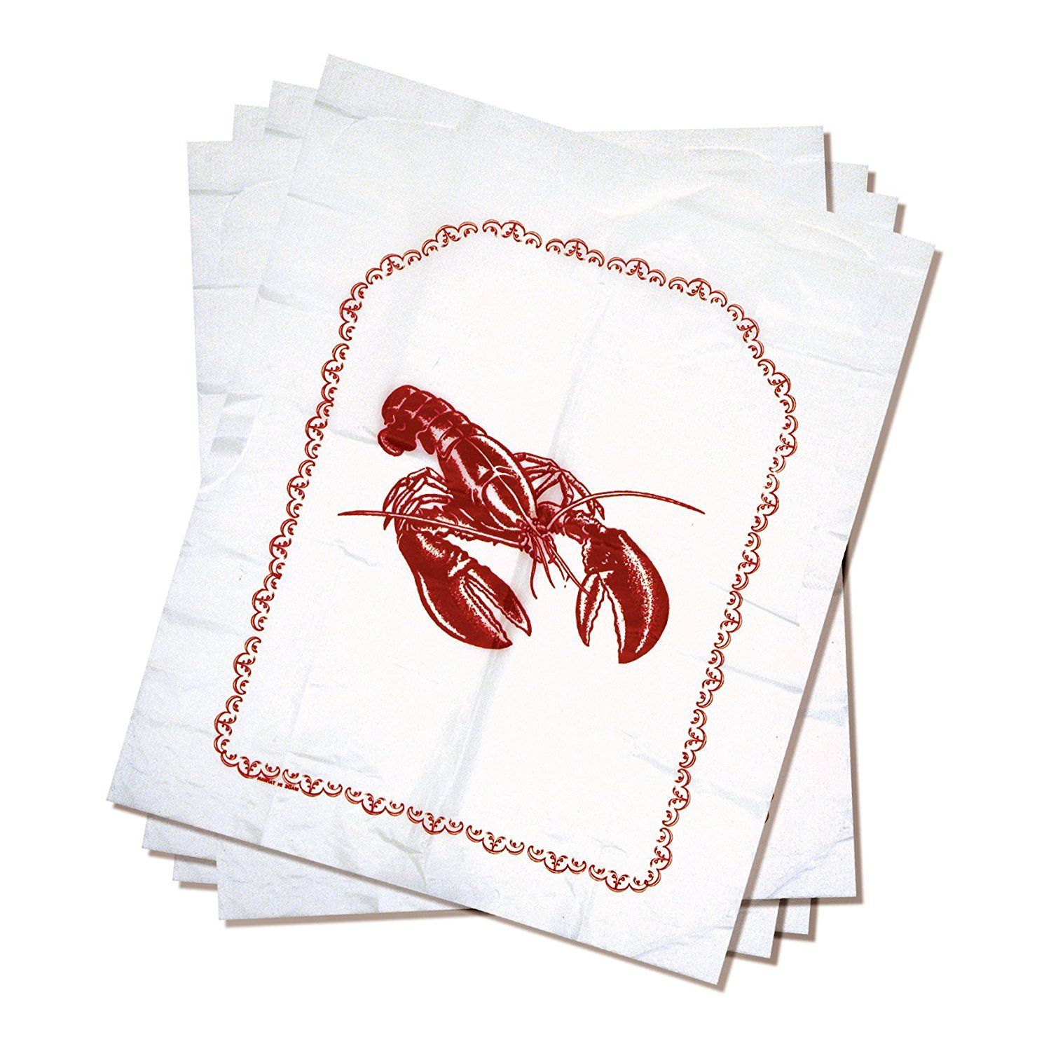 "Norpro Lobster Disposable Bibs Crab Seafood Clambake Set Of 4 Plastic 15""x18"""