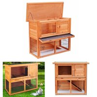 "UBesGoo 36"" Wooden Rabbit Hutch Chicken Coop Wood Hen House Poultry Pet Cage 2 Tiers"