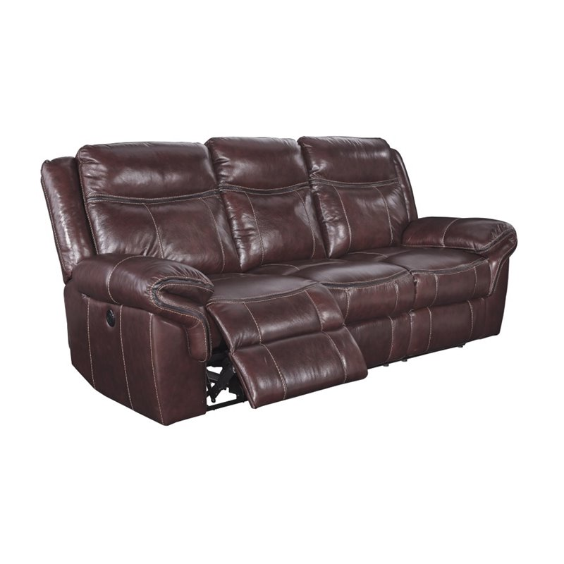 Ashley Zephen Power Reclining Leather Sofa In Mahogany - Walmart.Com