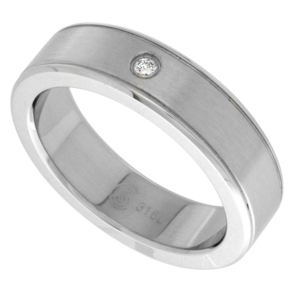 Surgical Steel Cubic Zirconia Grooved Ring 6mm Wedding Band Bull Nosed Edges, sizes 8 - 14
