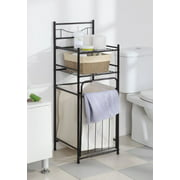 Mainstays 2-Shelf Bathroom Storage Tower with Hamper, Oil Rubbed Bronze
