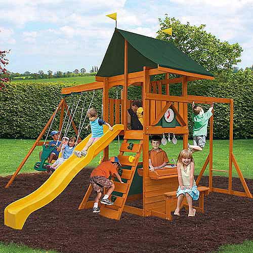 Cedar Summit Laurentian Cedar Wooden Swing Set Walmart Com
