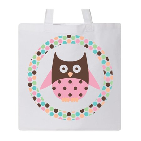 Owl Pink Polka Dot Tote Bag White One Size Bride Polka Dot Tote
