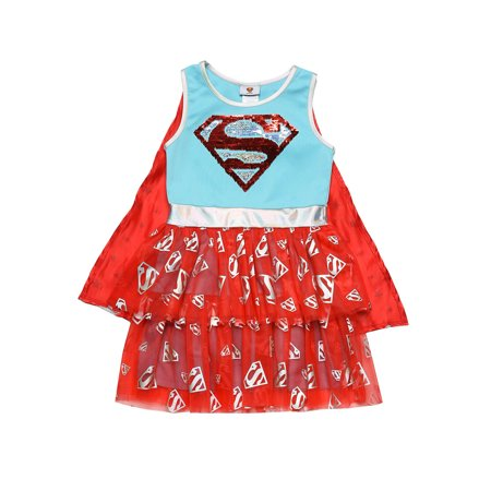 Girls Supergirl Costume Dress Cape Cosplay 2-Way Sequin Tulle Logo Blue Red](Dc Raven Cosplay)