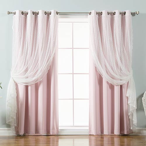 Light Pink Lace and Solid 96 x 52 In. Blackout Window Treatments, Set of Four by