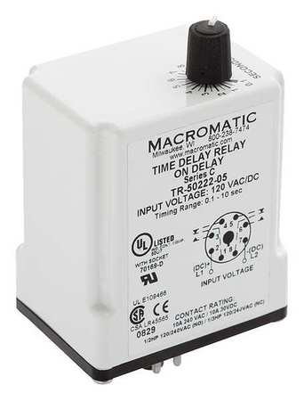 MACROMATIC TR-50228-12 Time Delay Rlay,24VAC//DC,10A,DPDT,3 sec.