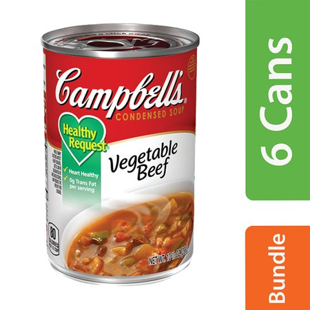 (6 Pack) Campbell'sCondensedHealthy RequestVegetable Beef Soup, 10.5 oz. - Beef Flavored Soup Base