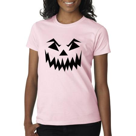 New Way 972 - Women's T-Shirt Scary Halloween Pumpkin Face Jack O Lantern 2XL Light Pink