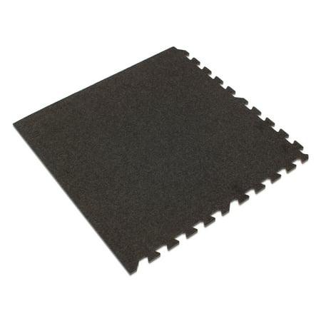 "We Sell Mats 3/8"" Thick Premium Interlocking Carpet Tiles, 16 Sq Ft (4 Tiles), Charcoal Gray"