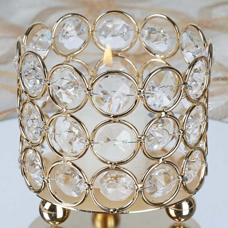 Efavormart Gold Elegant Metal Votive Tealight Crystal Candle Holder Wedding Dining Room Coffee Table Decorative Centerpiece - Lantern Centerpieces For Wedding