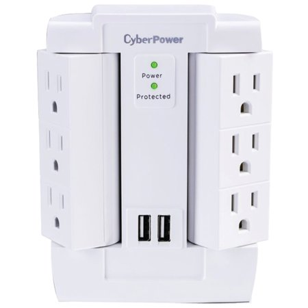 Cyberpower CSP600WSURC2 6-Outlet Swivel Professional Surge Protector Wall Tap With 2 USB Ports