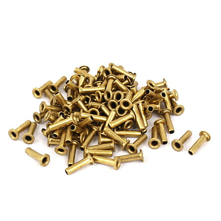 3mm x 12mm Double Sided Brass Hollow Rivets Grommets Tool 100 Pcs