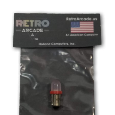 Red Frosted Pinball 6.3 Volt AC LED Round Replacement Bulbs 44/47 Bayonet Base BA9S