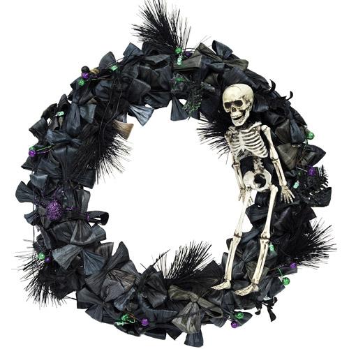 Wreath with Skeleton Halloween Prop