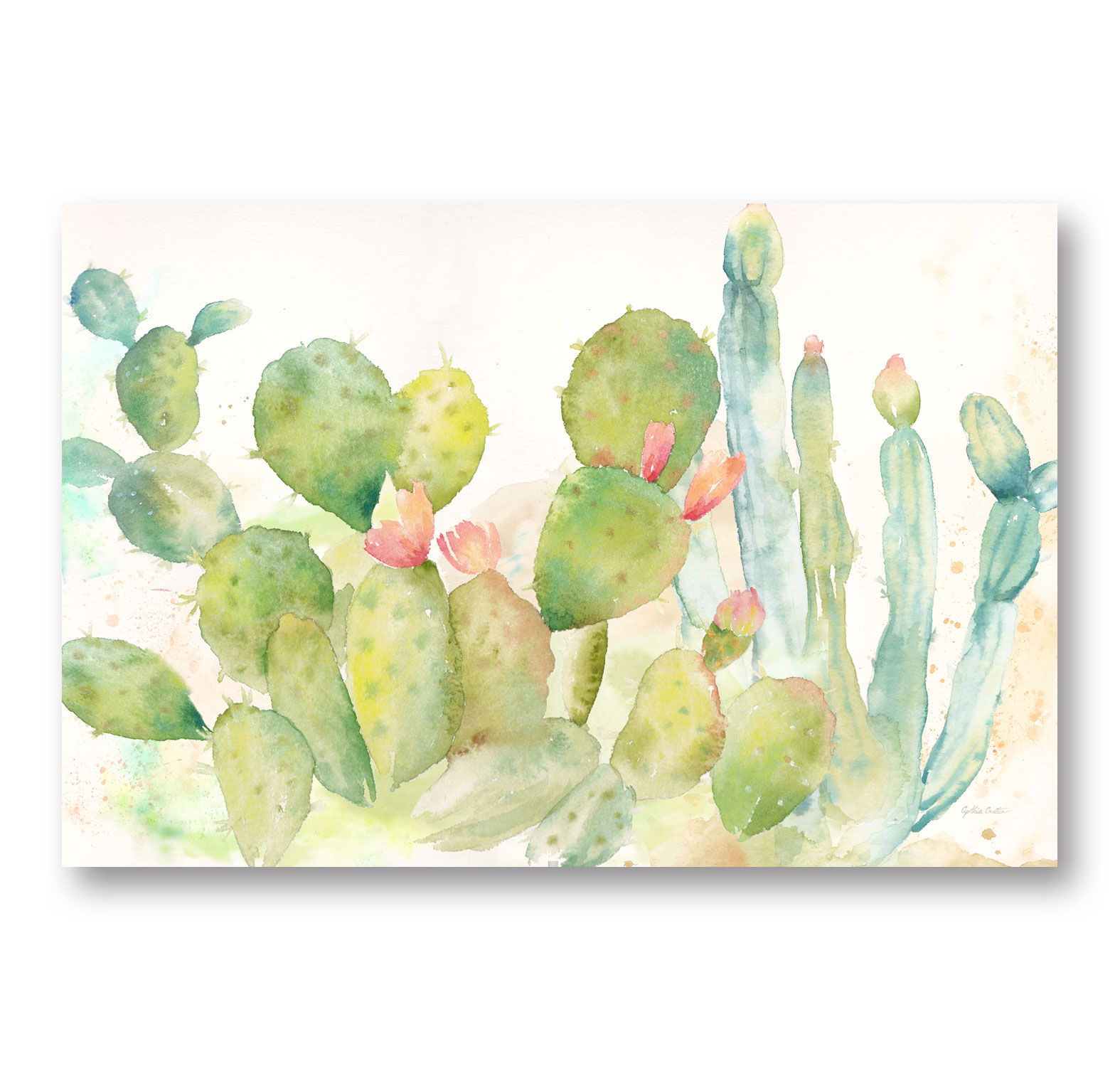 Lovely Watercolor-Style Desert Cactus Print by Cynthia Coulter; One 18x12in Unframed Paper Poster