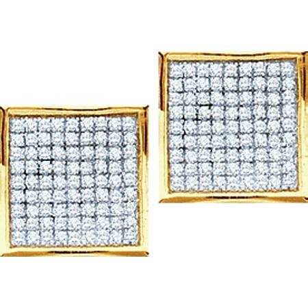 10K Yellow Gold 0.05ctw Glamorous Diamond Micro Pave Square Post Earring Diamond Micro Pave Square
