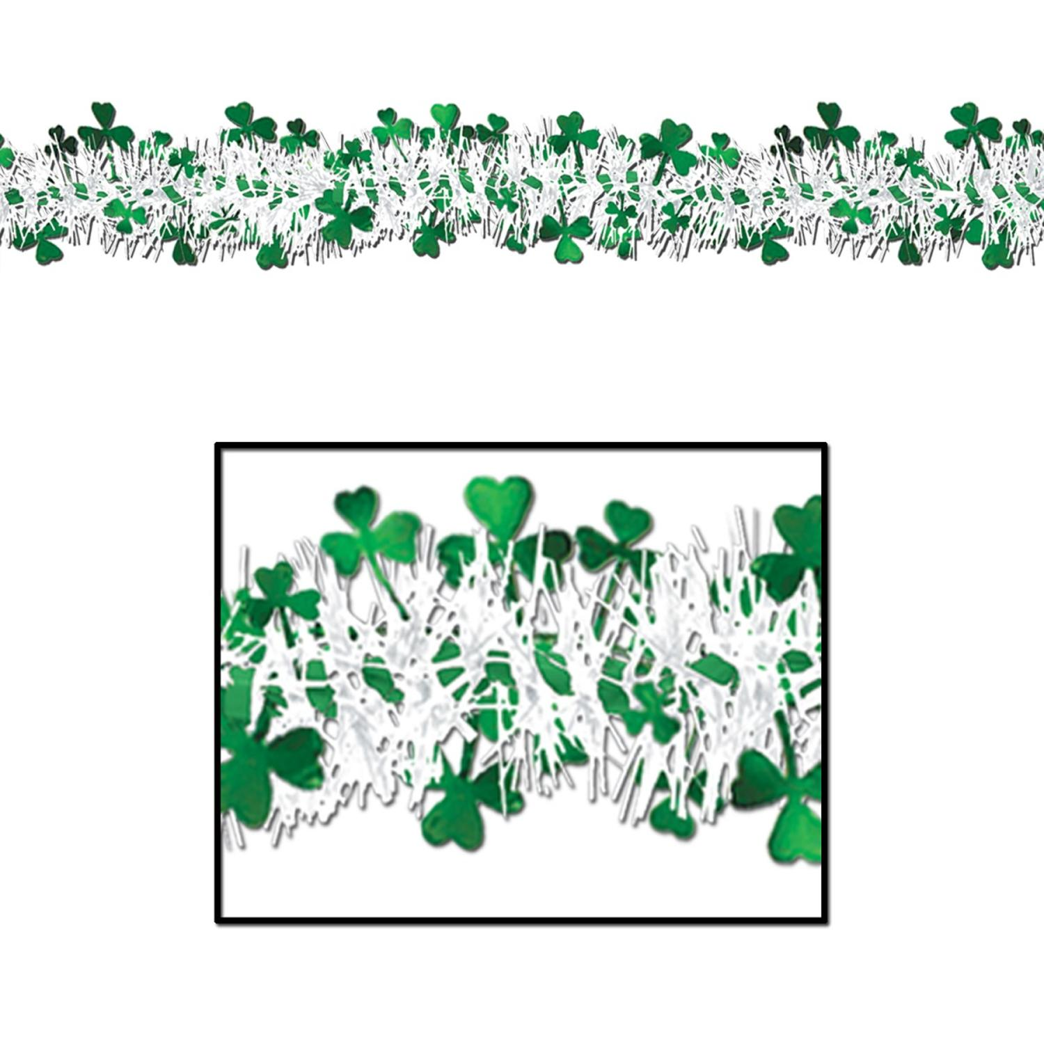 Pack of 12 Shamrock and White Tinsel Garland Hanging Decorations 12'