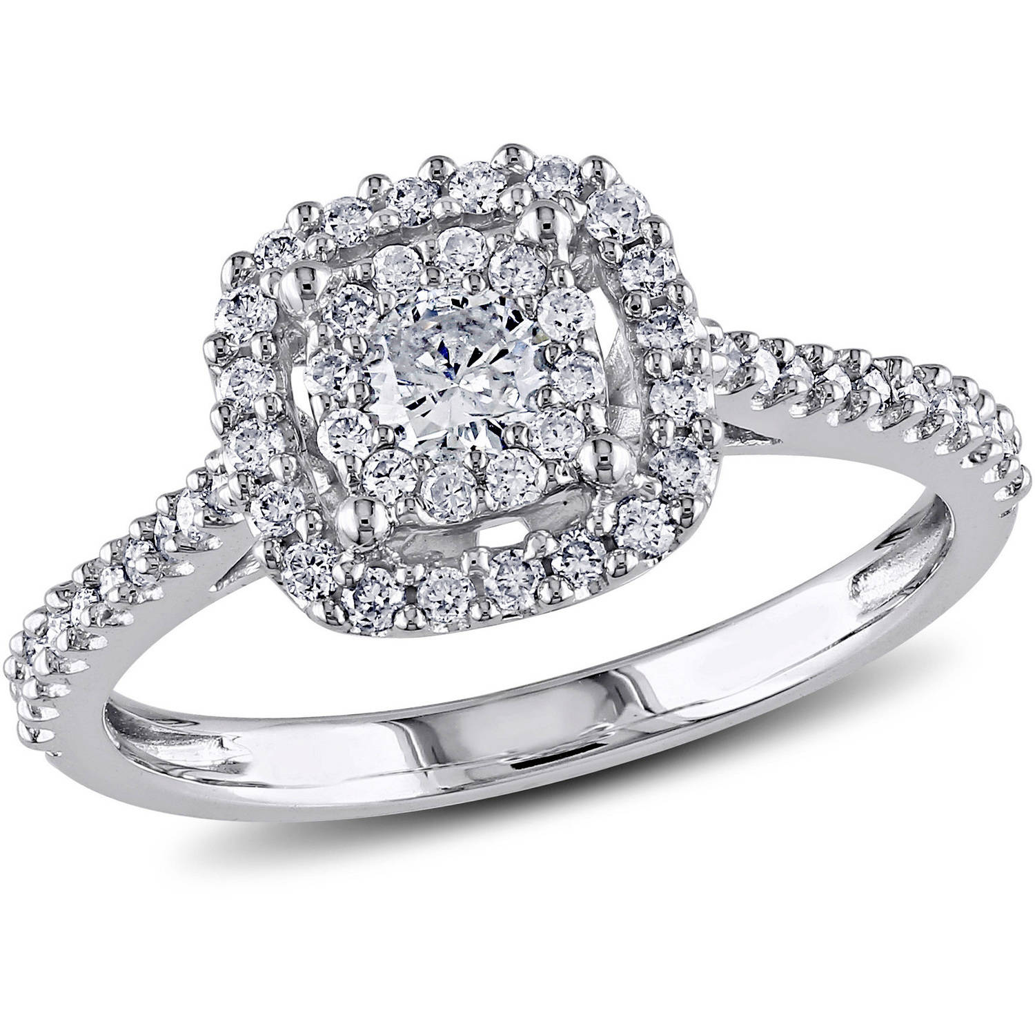 Tire Wedding Rings >> Miabella - Miabella 1/2 Carat T.W. Certified Diamond 10kt White Gold Double Halo Engagement Ring ...