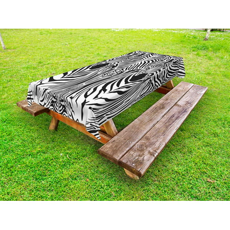 Zebra Print Tablecloth (Zebra Print Outdoor Tablecloth, Illustration Pattern Zebras Skins Background Blended Over Zebra Body Heads, Decorative Washable Fabric Picnic Table Cloth, 58 X 84 Inches,Black White, by)