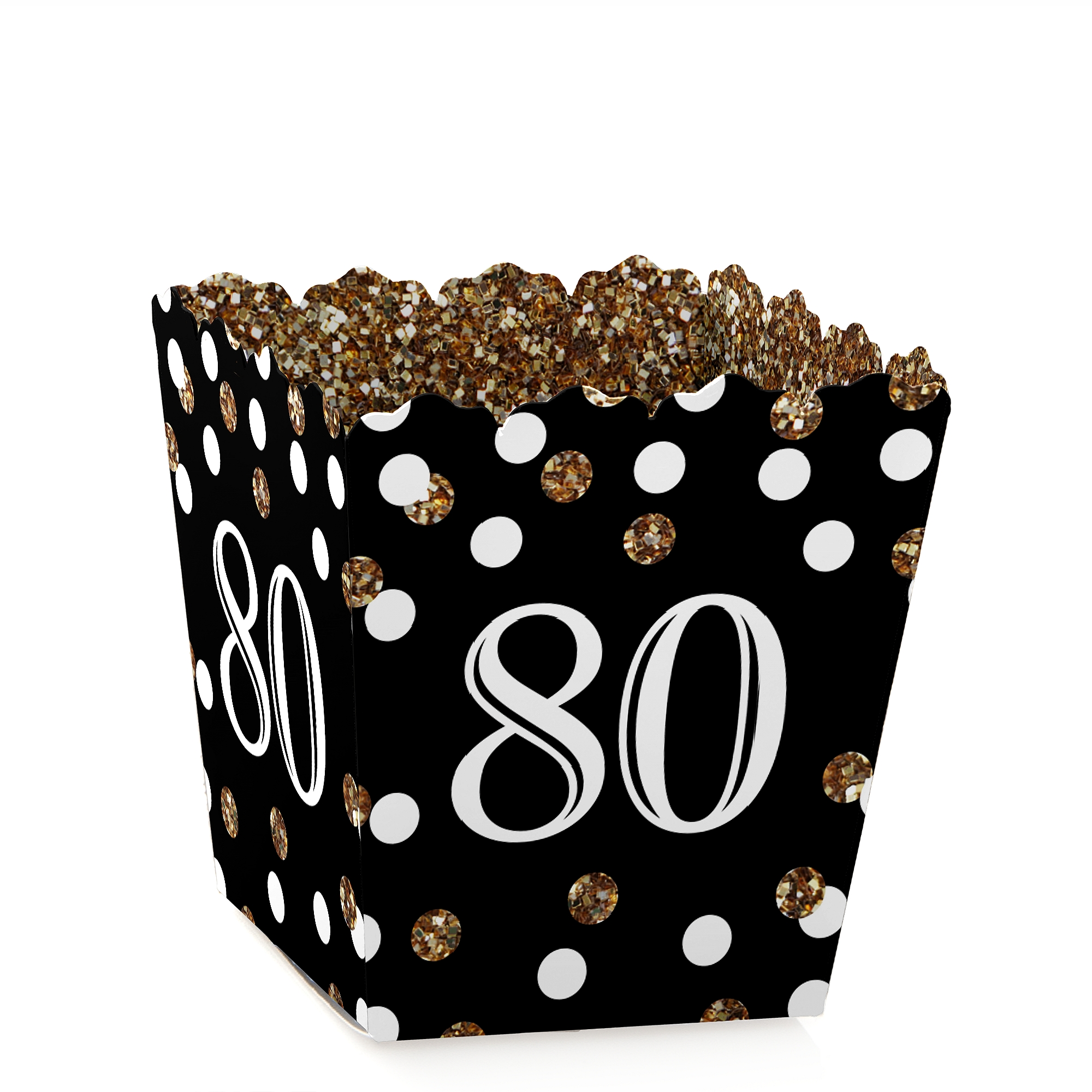 Adult 80th Birthday - Gold - Party Mini Favor Boxes - Birthday Party Treat Candy Boxes - Set of 12