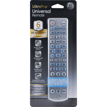 GE 6 Device Backlit Universal Remote Control, Silver