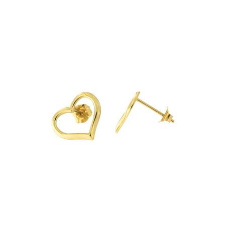 (14k Yellow Gold Large Open Heart Stud Earrings)