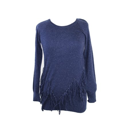 Inc International Concepts  Heather Midnight Long-Sleeve Fringed Sweater S