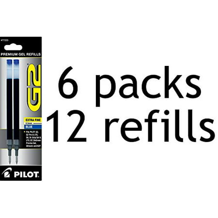 Value Pack of 6 - Pilot G2 Gel Ink Refill, 2-Pack for Rolling Ball Pens, Extra Fine Point, Blue Ink (77233)
