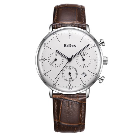 Mens Quartz Watch Brown Leather Strap Three Dials Calendar Time Exquisite Ultra-Thin for Collection Lovers Gift Casual Calendar Brown Leather Strap