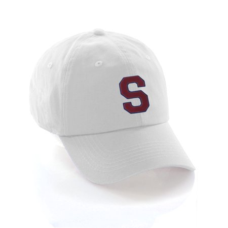 68bcf8a4ebc Custom Dad Hat A-Z Initial Raised Letters Classic Baseball Cap - White Hat  with Blue Red Letter - Walmart.com
