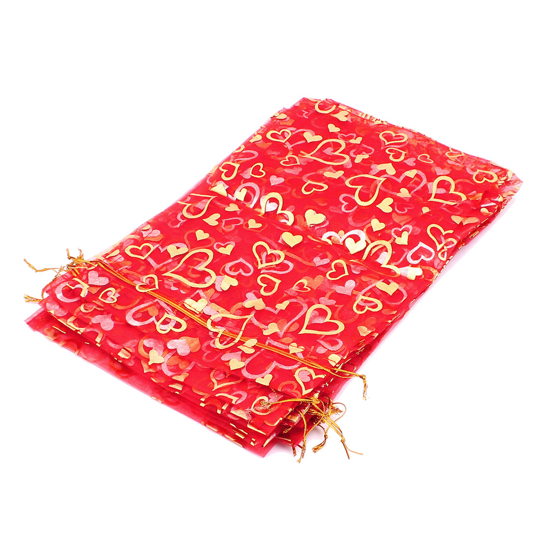 Organza Packing Pouch Jewelry Wedding Favor Gift Bags Red Gold Tone 10PCS