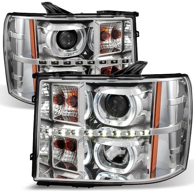 *GAZE* 07-13 Sierra *GEN VI* Halo Projector SMD DRL LED Headlights Headlamp