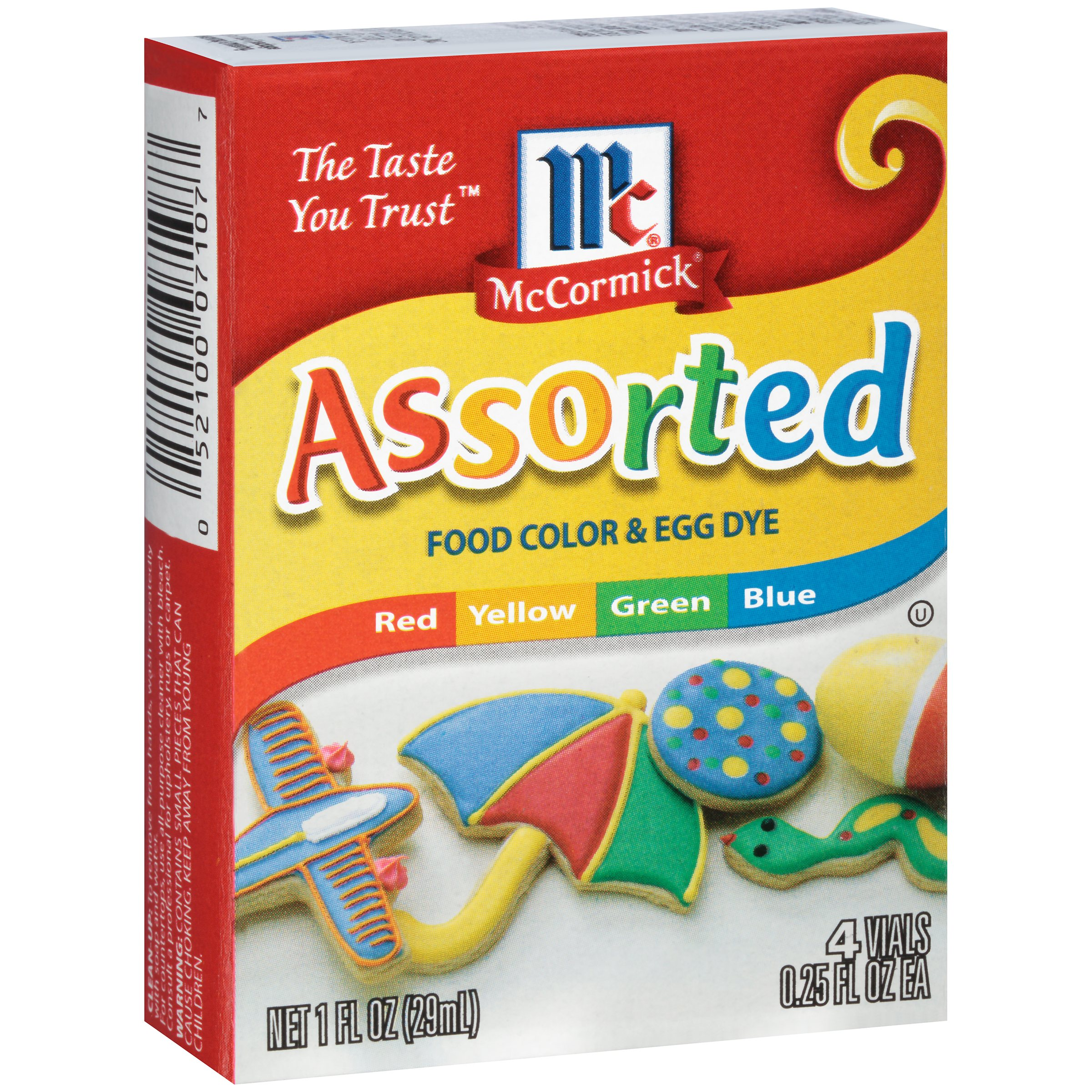 McCormick Assorted Food Colors And Egg Dye, 4 Ct/1 Fl oz