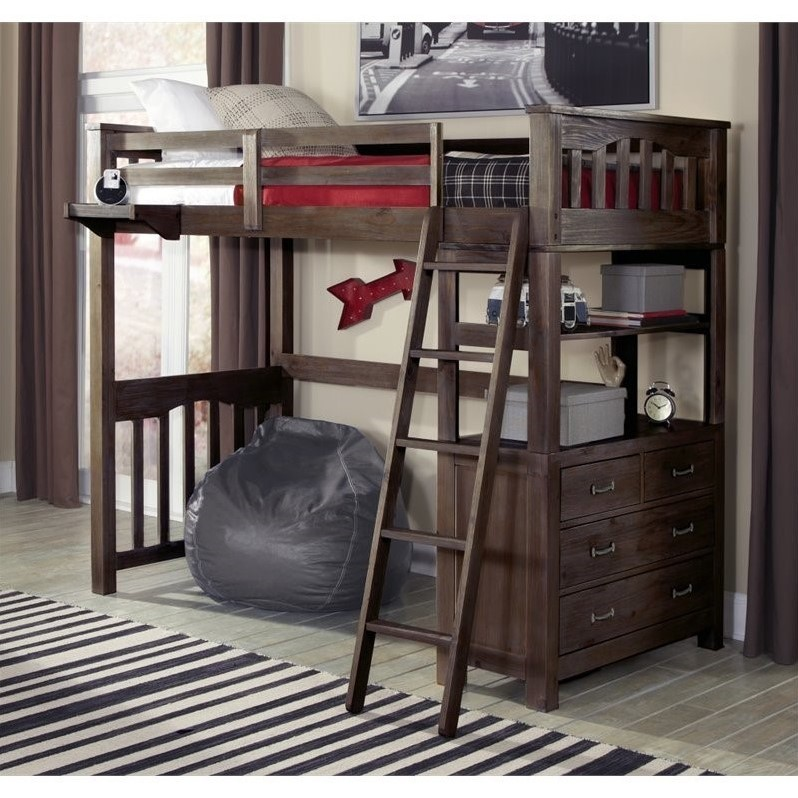 NE Kids Highlands Twin Loft Bed with Hanging Shelf in Espresso