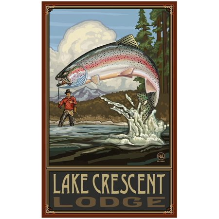 Lake Crescent Lodge Rainbow Trout Fisherman Mountains Travel Art Print Poster by Paul A. Lanquist (30