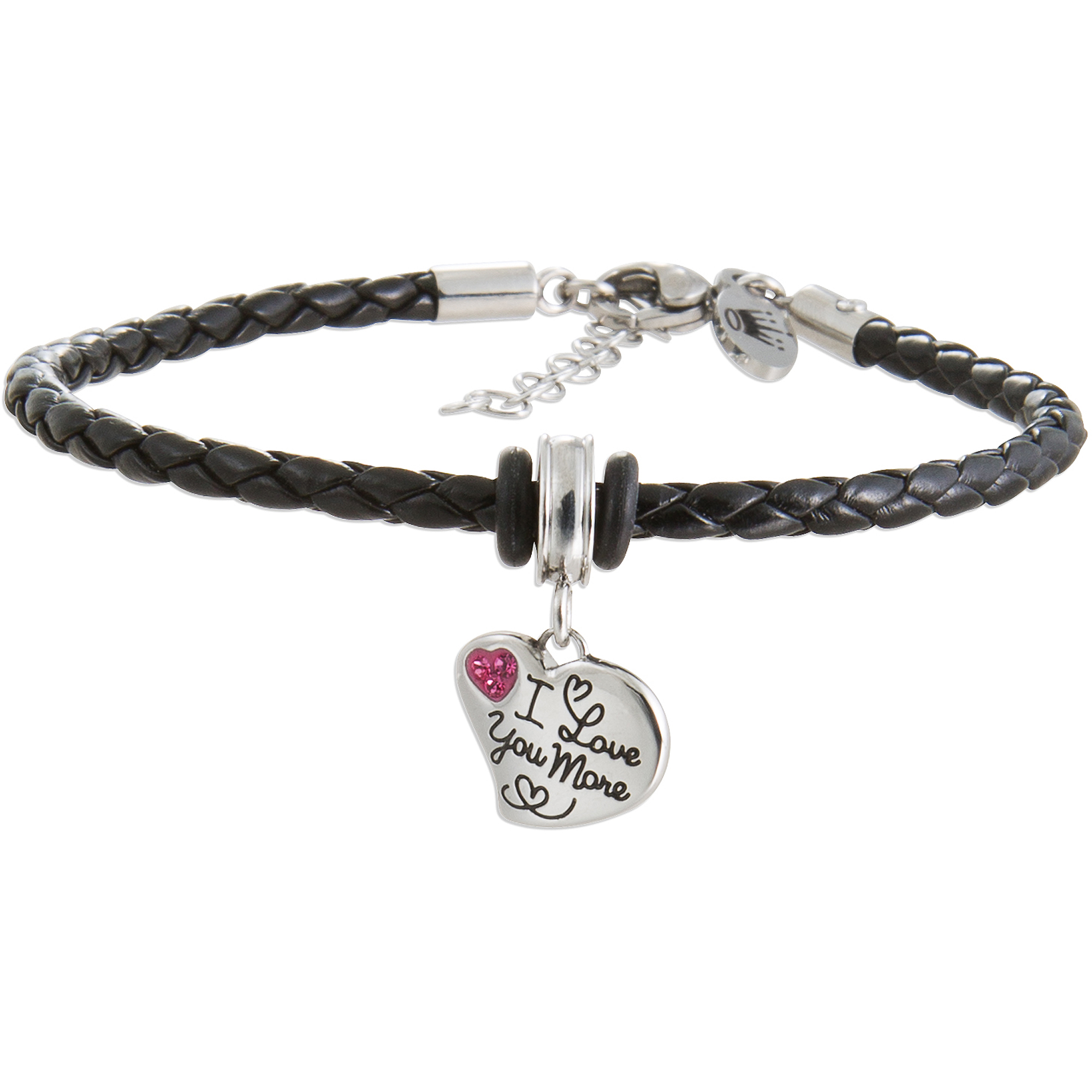 "Connections from Hallmark Pink Crystal Stainless Steel ""I love you more"" Heart Charm Black Braided Bracelet, 7"" with 1-1/2"" Extender"