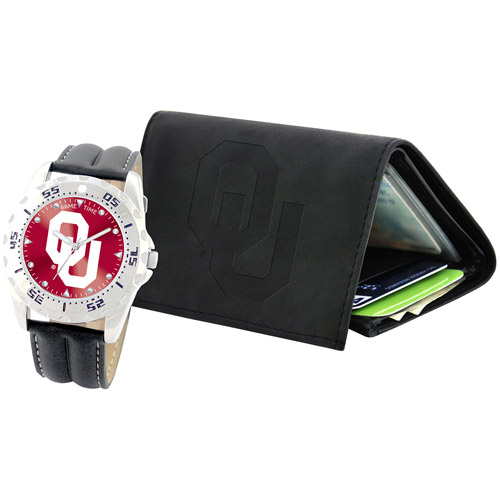 Game Time NCAA Men's University of Oklahoma Sooners Watch and Tri-Fold Wallet Set, Black