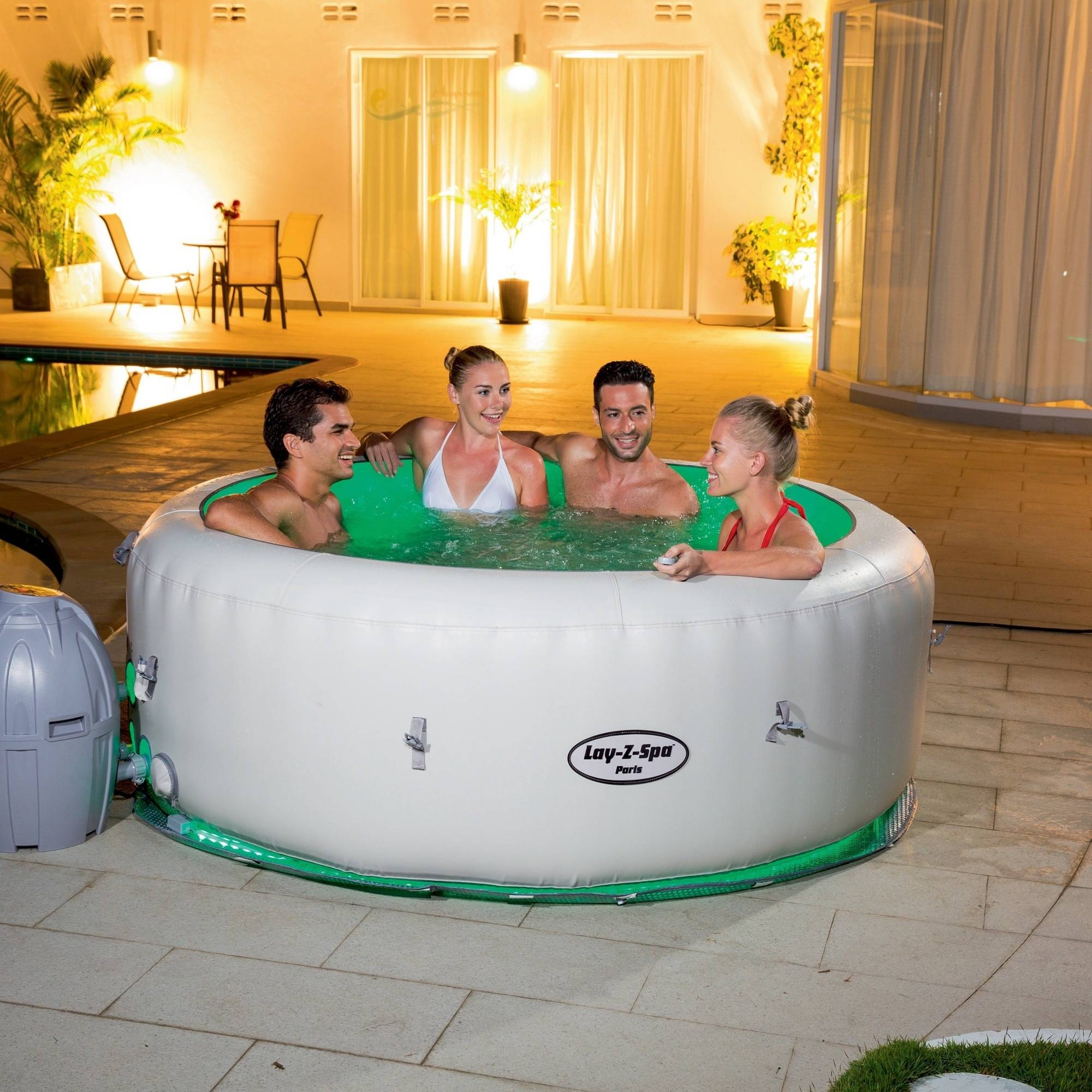 Lay-Z-Spa Paris Inflatable 4-6 Person Spa with LED Light and AirJet Massage System