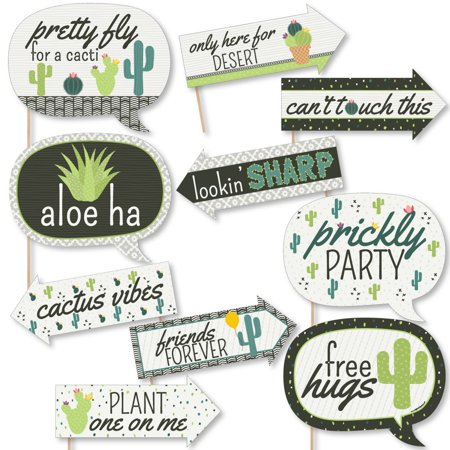 Funny Prickly Cactus Party - Fiesta Party Photo Booth Props Kit - 10 Piece
