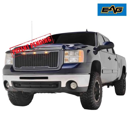 EAG Raptor Style Upper Replacement Grille w/LED Amber Lighting for 07-10 GMC Sierra 2500/3500 - Charcoal (Barricade Raptor Style Grille W Led Lighting)