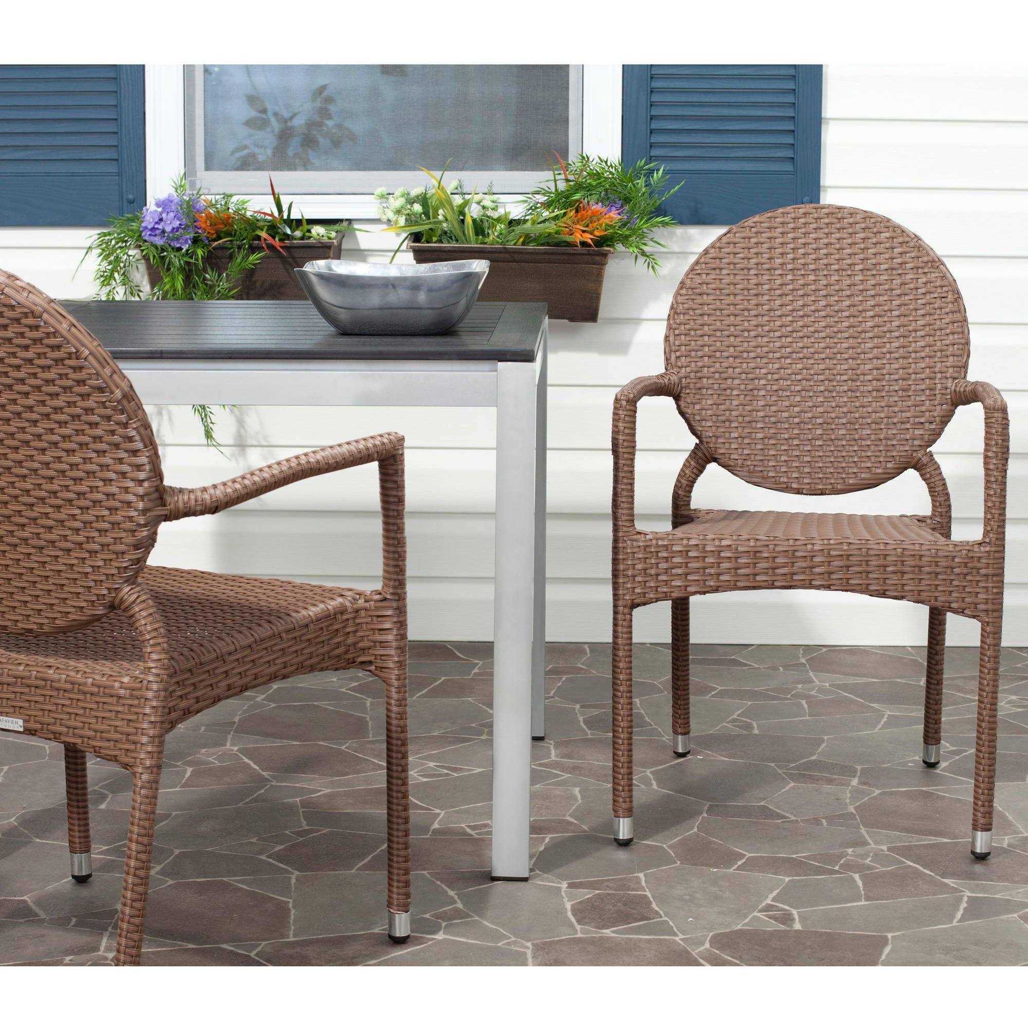 Safavieh Valdez Wicker Indoor-Outdoor Stacking Side Chair, Set of 2