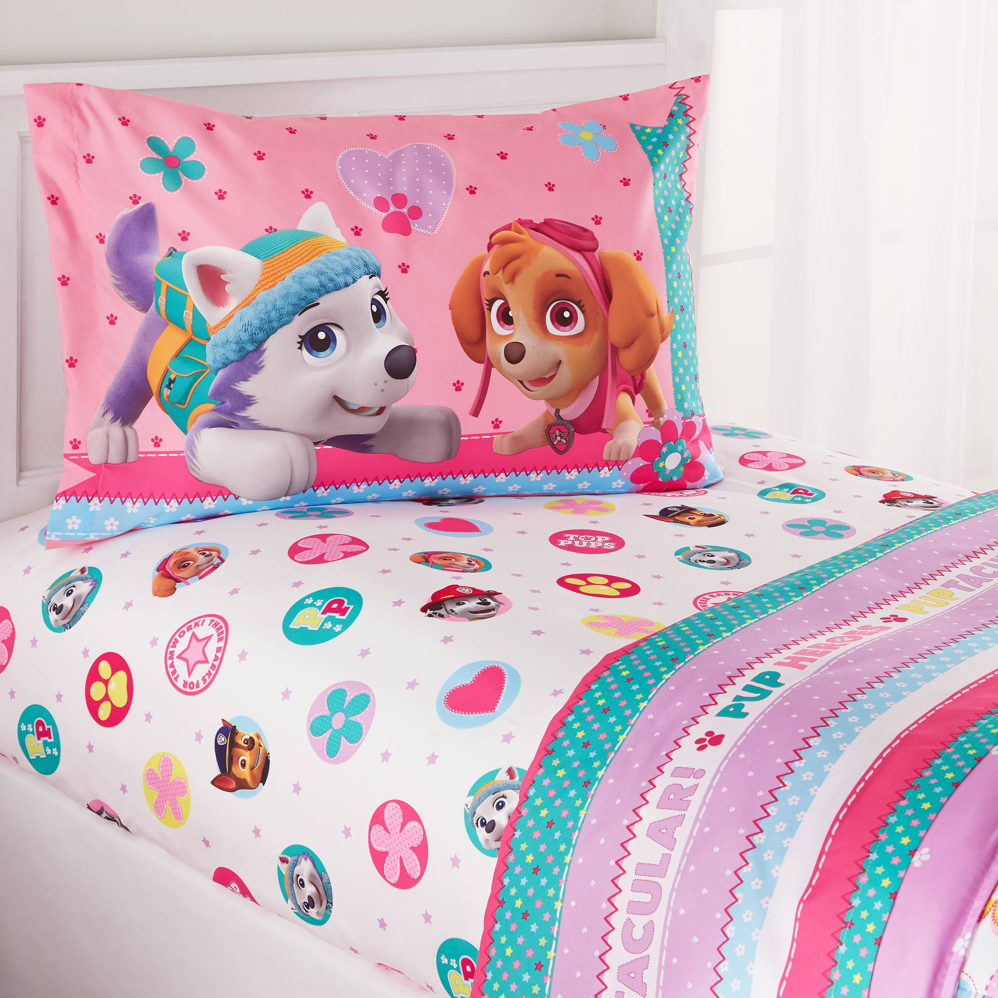 girls bedding Paw Patrol Girl u0027Best Pupu0027 Twin Bedding Sheet Set - Walmart.com