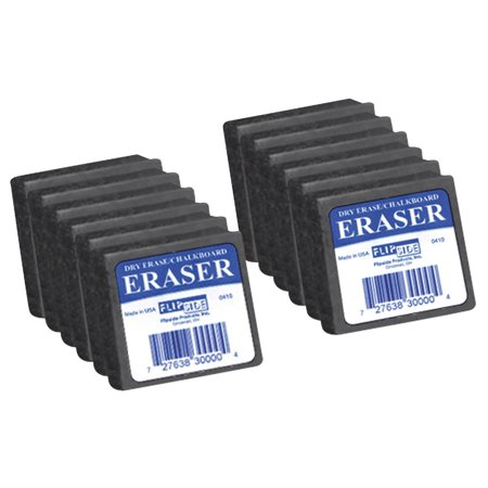 (Flipside Student Felt Eraser Set, 2 X 2 in, Dark Gray, for Use with Chalk and Dry Erase, Set of 12)