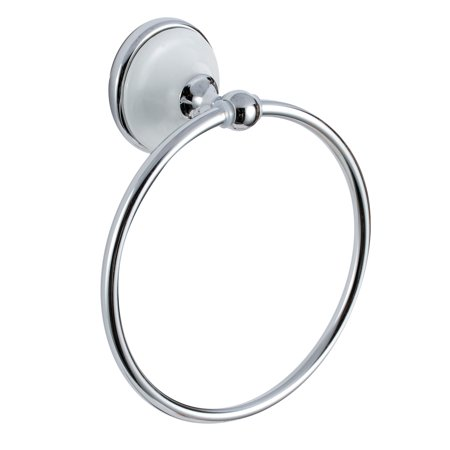 Miseno MBHW-TR1BT Polished Chrome / White Carrara Wall Mounted Towel Ring Polished Chrome Wall