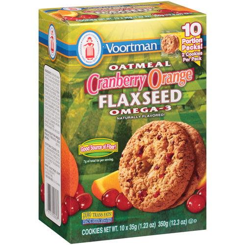 Voortman Oatmeal Cranberry Orange Flaxseed Omega-3 Cookies, 1.23 oz, 10 count