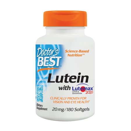 Doctor's Best Lutein featuring Lutemax, Non-GMO, Gluten Free, Soy Free, Eye Health, 20 mg, 180 - Lutein Rx Eye