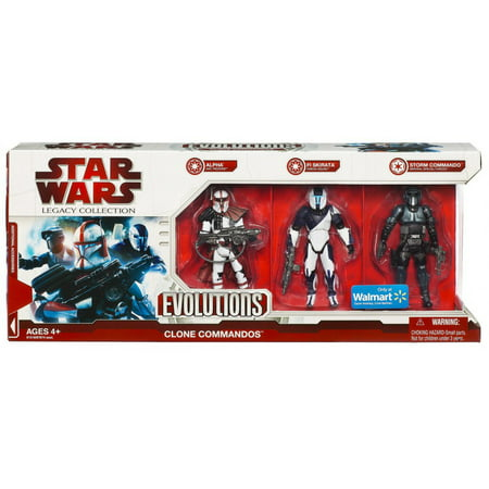 Star Wars Legacy Collection 2009 Evolutions Clone Commandos Action Figure 3-Pack [Alpha Arc Trooper, Fi Skirata Omega Squad & Storm Commando Imperial Special Forces] Power Clone Solution